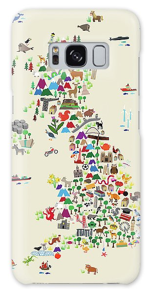 England Galaxy Case - Animal Map Of Great Britain For Children And Kids by Michael Tompsett