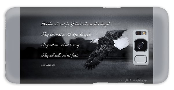 Bald Eagle In Flight With Bible Verse Galaxy Case by John A Rodriguez
