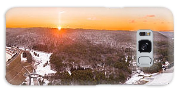 Barkhamsted Reservoir And Saville Dam In Connecticut, Sunrise Panorama Galaxy Case by Petr Hejl