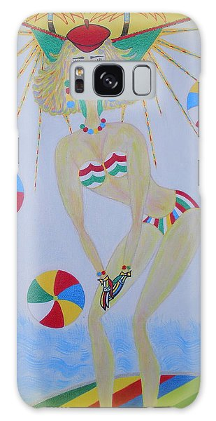 Beach Ball Surfer Galaxy Case by Marie Schwarzer