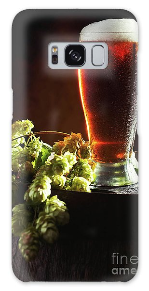 Beer And Hops On Barrel Galaxy Case by Amanda Elwell