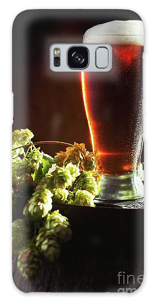 Cold Day Galaxy Case - Beer And Hops On Barrel by Amanda Elwell