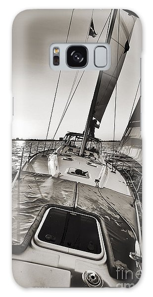Beneteau 49 Sailing Yacht Close Hauled Charleston Sunset Sailboat Galaxy Case
