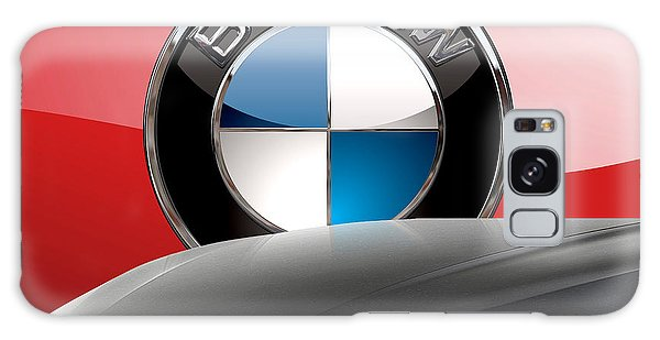 Automotive Galaxy Case - Black B M W - Front Grill Ornament And 3 D Badge On Red by Serge Averbukh