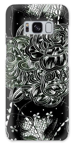 Black Flower Galaxy Case