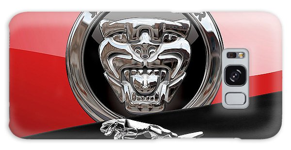 Automotive Galaxy Case - Black Jaguar - Hood Ornaments And 3 D Badge On Red by Serge Averbukh