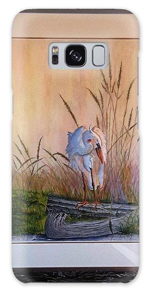 Blue Heron On A Log  Galaxy Case