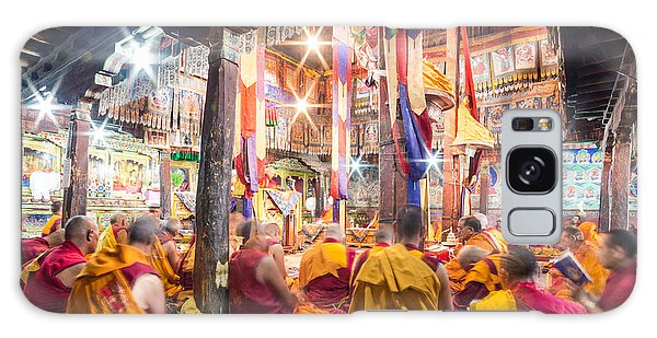 Buddhist Monks Praying In Thiksay Monastery Galaxy Case