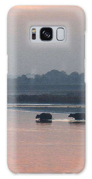Buffalos Crossing The Yamuna River Galaxy Case