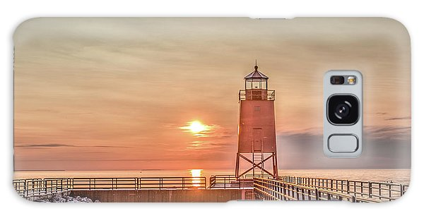 Charelvoix Lighthouse In Charlevoix, Michigan Galaxy Case by Peter Ciro