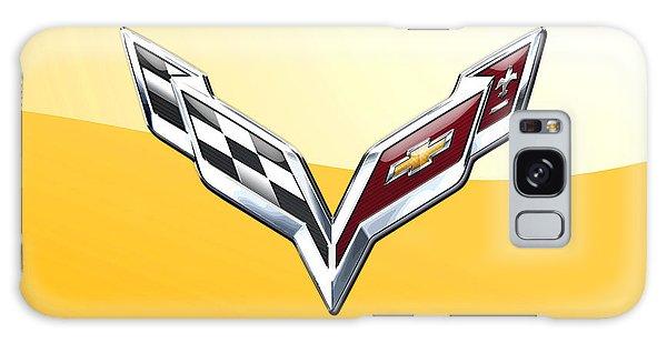 Automotive Galaxy Case - Chevrolet Corvette 3d Badge On Yellow by Serge Averbukh