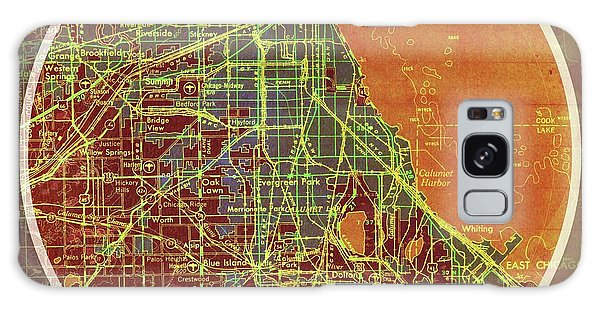 Vintage Chicago Galaxy Case - Chicago 1957 Old Map, Chicago Frank Lloyd Wright Quote by Drawspots Illustrations