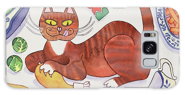 Christmas Cat And The Turkey Galaxy Case by Cathy Baxter
