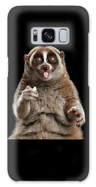 Close-up Lemur Slow Loris Isolated Black Background Galaxy Case