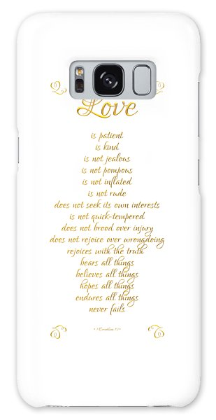 Galaxy Case featuring the digital art 1 Corinthians 13 Love Is White Background by Rose Santuci-Sofranko