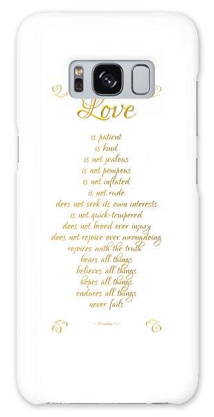 1 Corinthians 13 Love Is White Background Galaxy Case