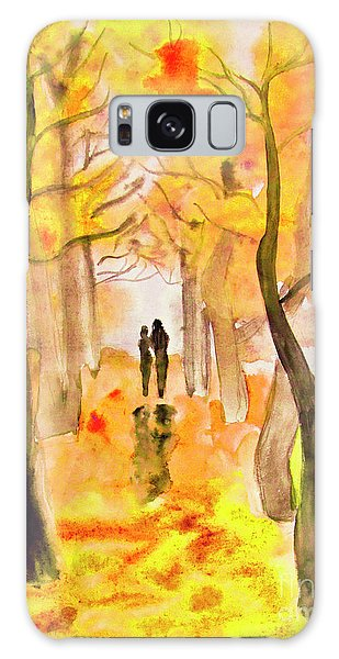 Couple On Autumn Alley, Painting Galaxy Case