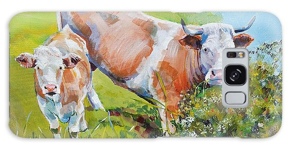 Cow And Calf Painting Galaxy Case