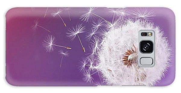 Dandelion Flying On Magenta Background Galaxy Case