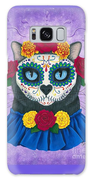 Galaxy Case featuring the painting Day Of The Dead Cat Gal - Sugar Skull Cat by Carrie Hawks