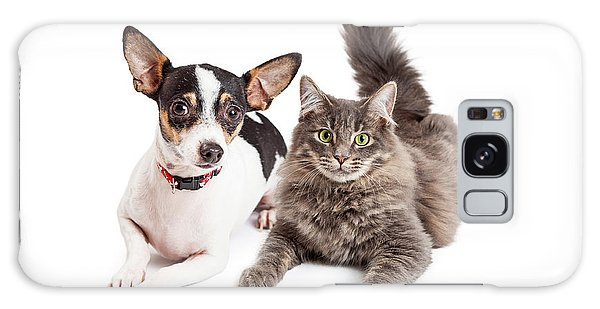 Dog And Cat Laying Together Looking Forward Galaxy Case