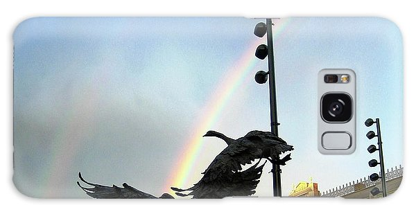 Double Rainbow Over Old Town Square Galaxy Case