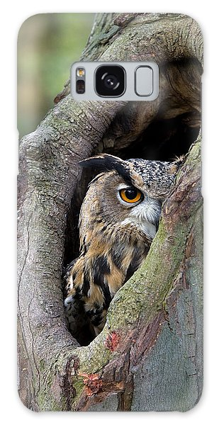 Galaxy Case featuring the photograph Eurasian Eagle-owl Bubo Bubo Looking by Rob Reijnen