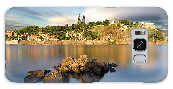 Famous Vysehrad Church During Sunny Day. Amazing Cloudy Sky In Motion. Vltava River, Prague, Czech Republic Galaxy Case