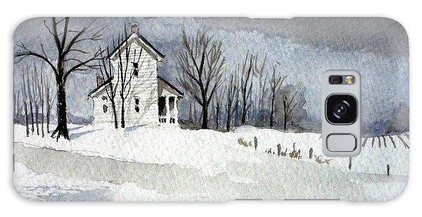 Farmhouse In Winter Galaxy Case