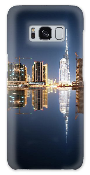 Fascinating Reflection Of Tallest Skyscrapers In Business Bay District During Calm Night. Dubai, United Arab Emirates. Galaxy Case