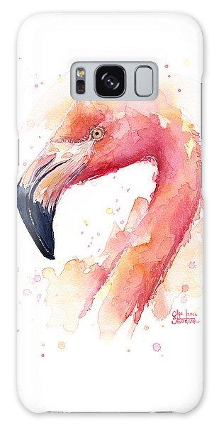 Bird Galaxy Case - Flamingo Watercolor  by Olga Shvartsur
