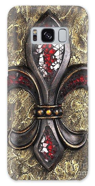 red mosaic Fleur-di-lis Galaxy Case