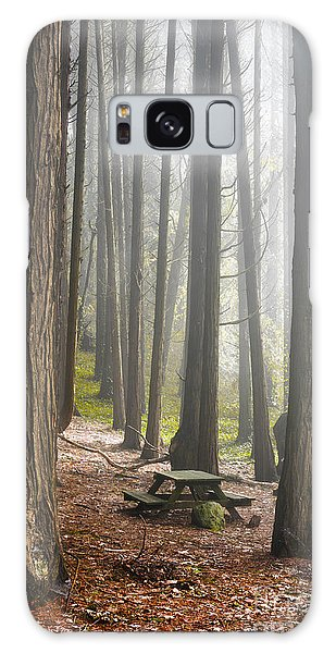Picnic Table Galaxy Case - Foggy Forest by Carlos Caetano