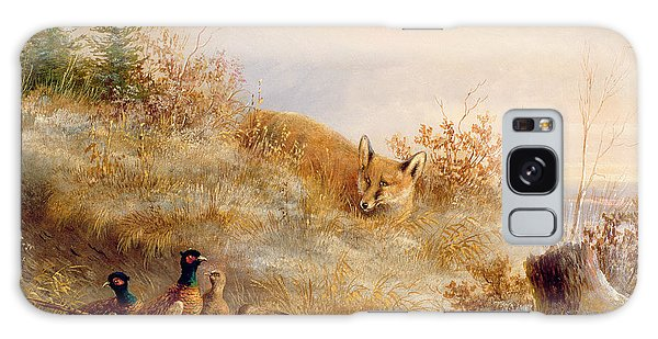 Pheasant Galaxy S8 Case - Fox And Pheasants In Winter by Anonymous