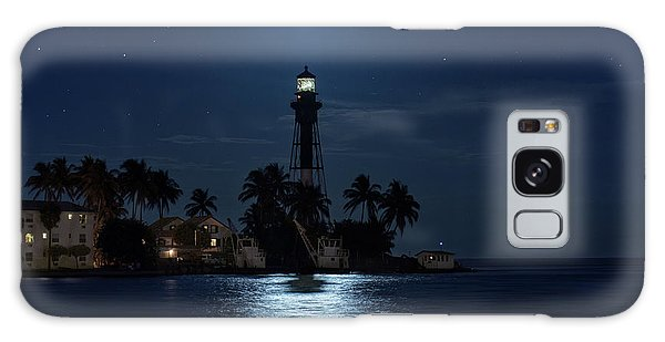 Full Moon Over Hillsboro Lighthouse In Pompano Beach Florida Galaxy Case by Justin Kelefas