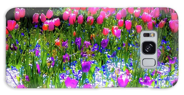 Garden Flowers With Tulips Galaxy Case