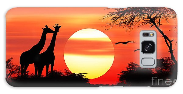 Giraffes At Sunset Galaxy Case