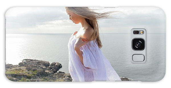 Girl In A White Dress By The Sea Galaxy Case