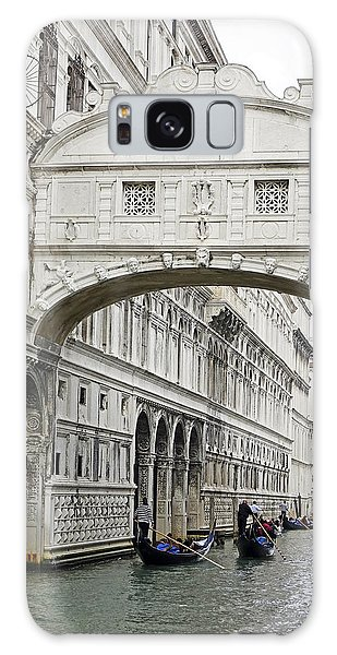 Gondolas Going Under The Bridge Of Sighs In Venice Italy Galaxy Case