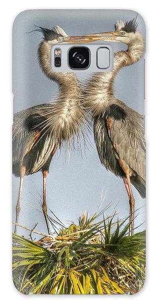 Great Blue Heron Couple Galaxy Case by Myrna Bradshaw