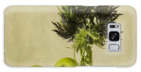 Apple Galaxy S8 Case - Green Apples And Blue Thistles by Priska Wettstein