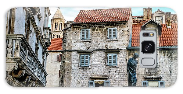 Houses And Cathedral Of Saint Domnius, Dujam, Duje, Bell Tower Old Town, Split, Croatia Galaxy Case by Elenarts - Elena Duvernay photo
