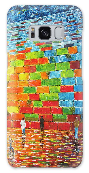 Galaxy Case featuring the painting Jerusalem Wailing Wall Original Acrylic Palette Knife Painting by Georgeta Blanaru