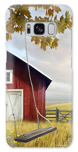 Galaxy Case featuring the photograph Large Red Barn With Bicycle In Field Of Wheat by Sandra Cunningham