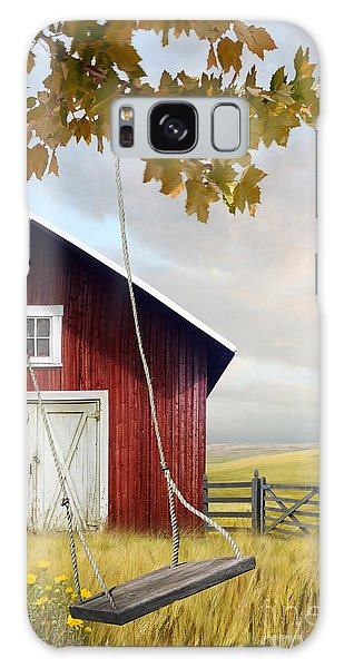 Large Red Barn With Bicycle In Field Of Wheat Galaxy Case