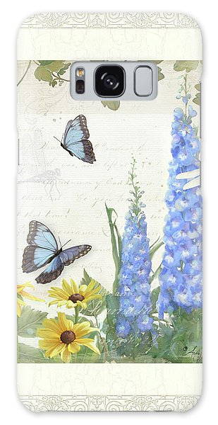 Le Petit Jardin 1 - Garden Floral W Butterflies, Dragonflies, Daisies And Delphinium Galaxy Case by Audrey Jeanne Roberts