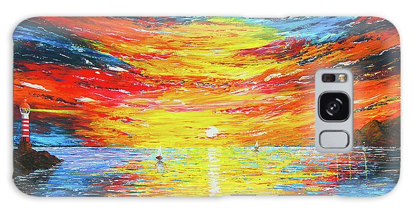 Galaxy Case featuring the painting  Lighthouse Sunset Ocean View Palette Knife Original Painting by Georgeta Blanaru