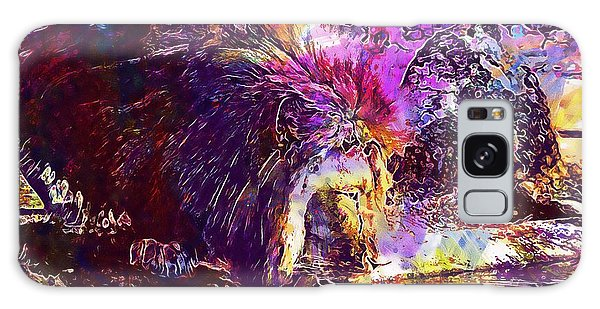 Galaxy Case featuring the digital art Lion Cat Zoo Male Big Cat Africa  by PixBreak Art