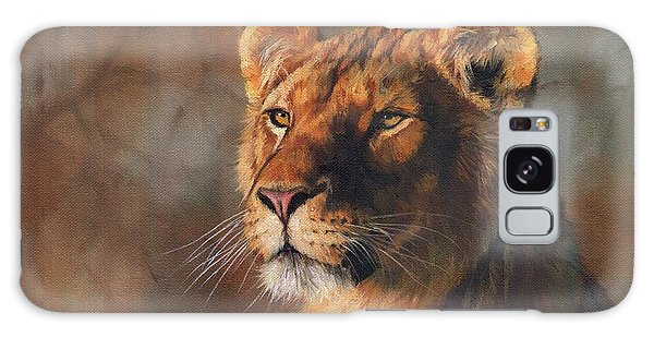 Lioness Portrait Galaxy Case by David Stribbling