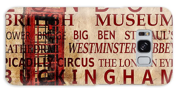 London Eye Galaxy Case - London Vintage Poster Red by Delphimages Photo Creations